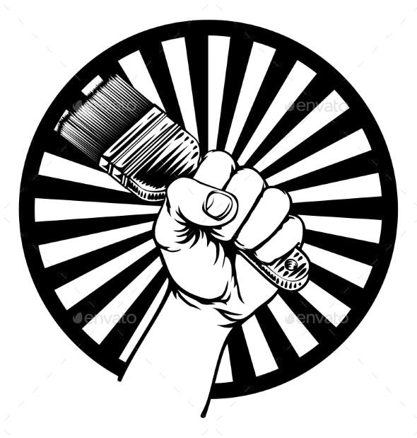 Hand Holding Decorators Paintbrush - Miscellaneous Vectors