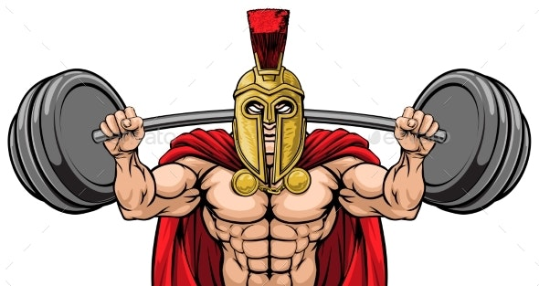 Spartan Trojan Weight Lifting Body Building Mascot - People Characters
