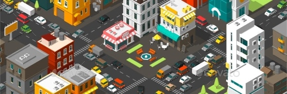 Vector Isometric City Horizontal Banner - Man-made Objects Objects
