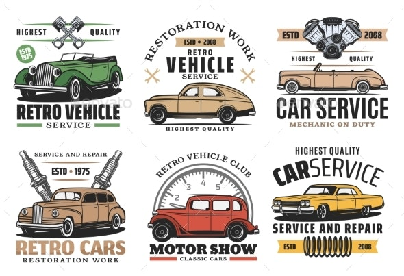 Retro Cars Service, Auto Show and Spare Part Store - Man-made Objects Objects