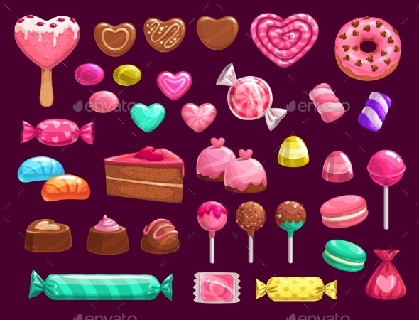 Love Heart Candies, Sweets and Cakes - Food Objects