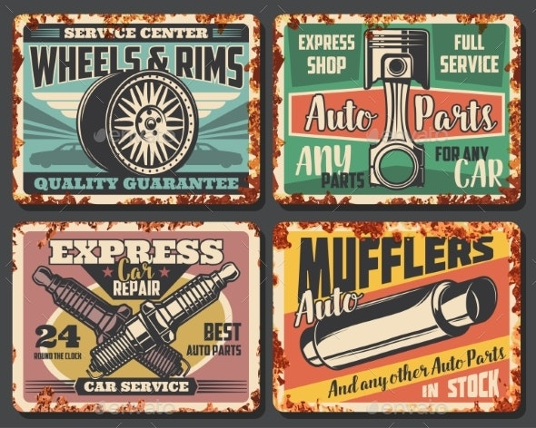 Car Auto Service Restoration Rust Posters - Man-made Objects Objects
