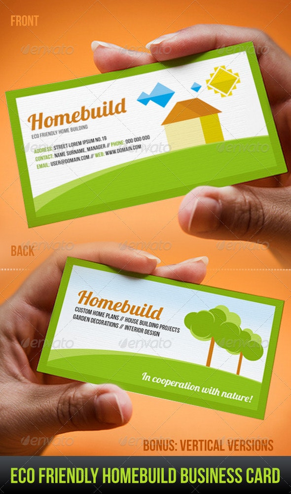 Eco Friendly Homebuild Business Card - Industry Specific Business Cards