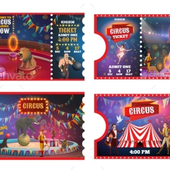 Circus Tickets with Acrobats, Animals and Magician