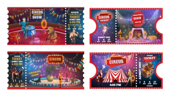 Circus Tickets with Acrobats, Animals and Magician - Characters Vectors