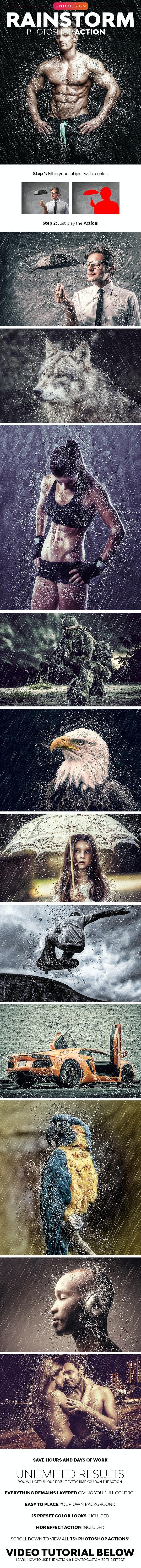 RainStorm Photoshop Action - Photo Effects Actions