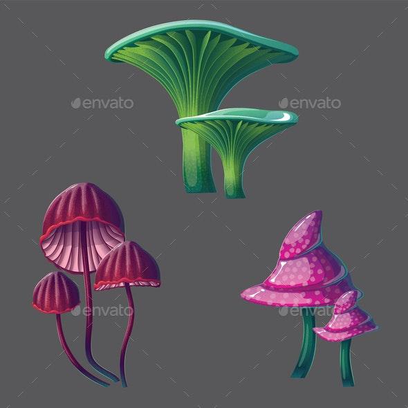 Fantasy Mushrooms Set - Flowers & Plants Nature