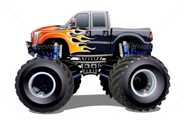 Cartoon Monster Truck Isolated on White Background - Man-made Objects Objects