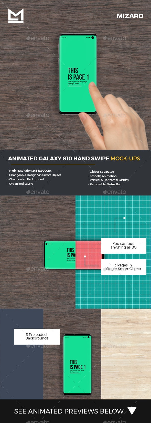 Animated S10 Galaxy Hand Swipe Mockup - Mobile Displays