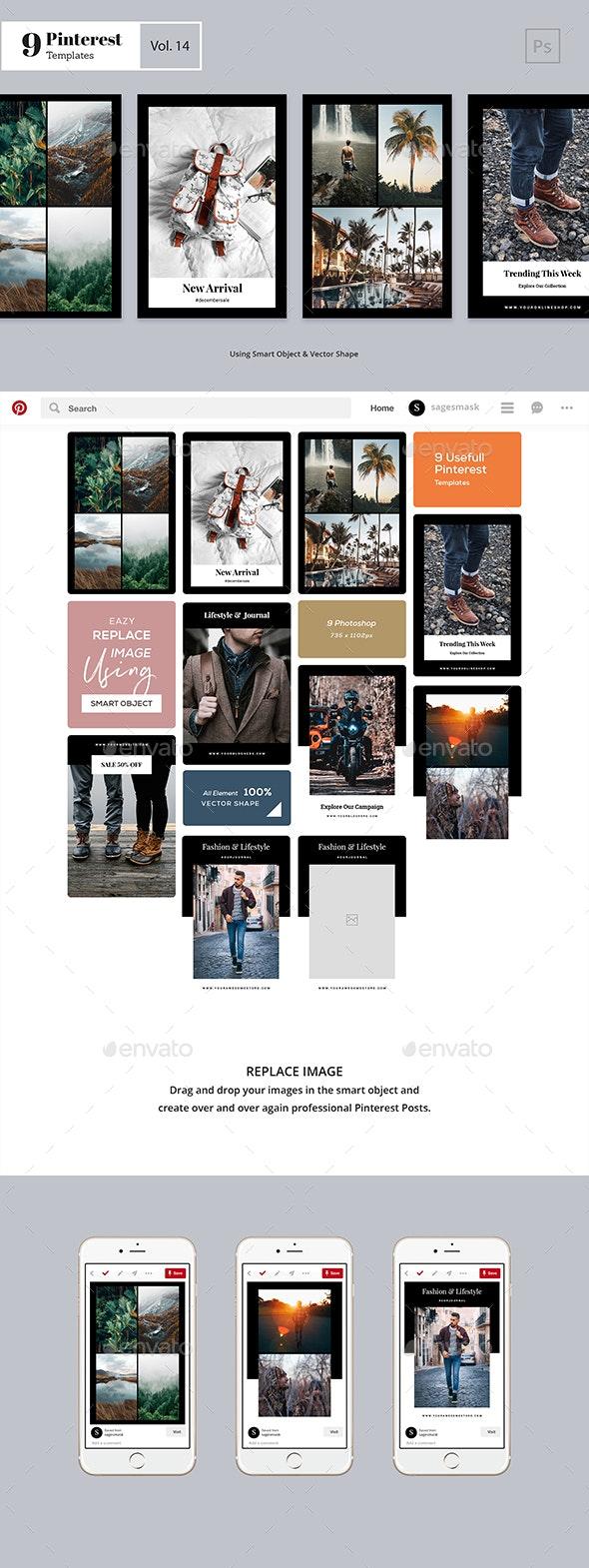 Pinterest Templates Vol. 14 - Social Media Web Elements
