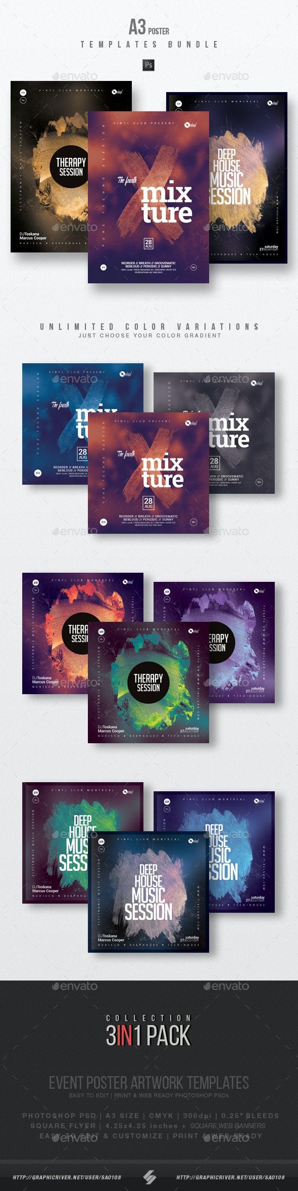 Progressive Sound vol.17 - Party Flyer / Poster Templates Bundle - Clubs & Parties Events