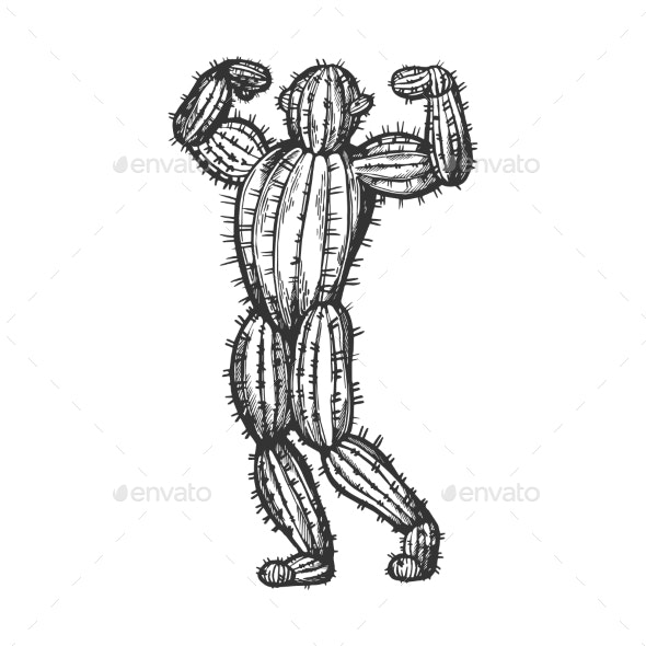 Cactus Man Posing Sketch Engraving Vector - Flowers & Plants Nature