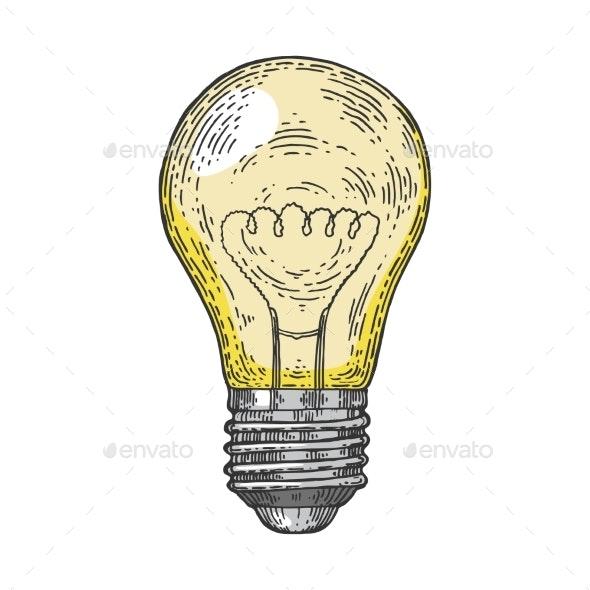 Electric Lamp Color Sketch Engraving Vector - Miscellaneous Vectors