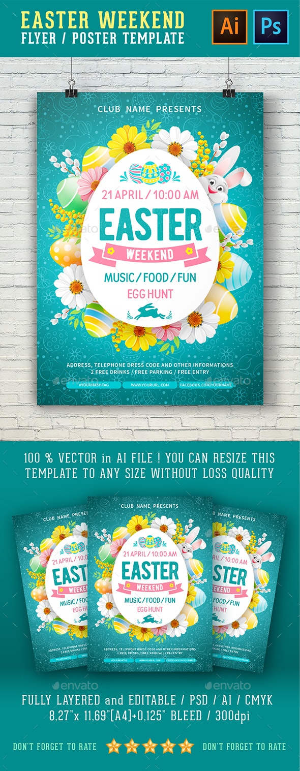 Template For Easter Weekend Flyer - Holidays Events