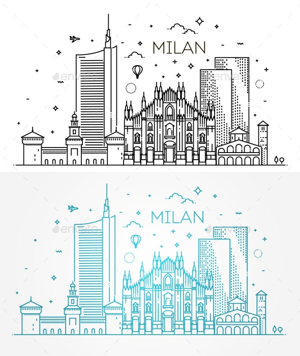 Linear Banner of Milan City - Buildings Objects