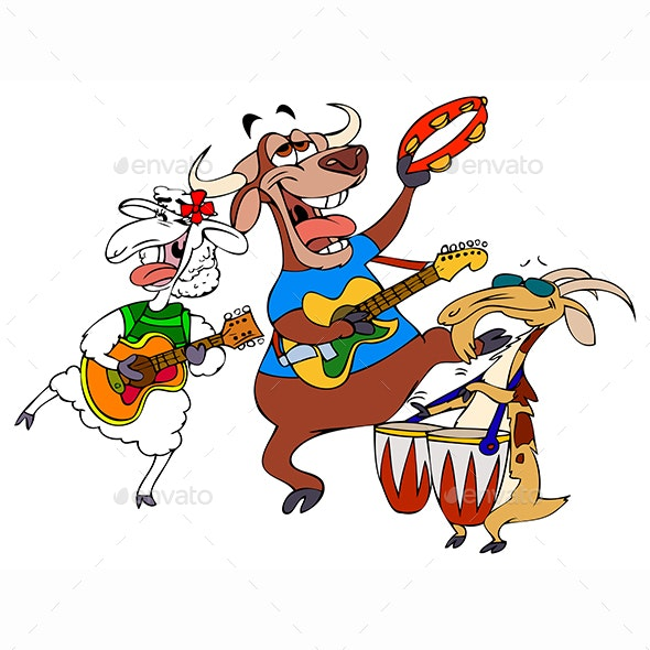 Cartoon Bull, Goat and a Lamb Making Music - Animals Characters