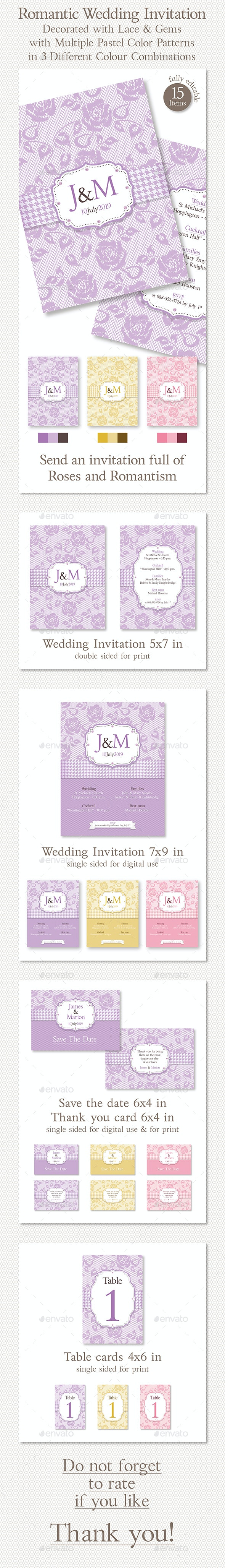 Romantic Wedding Invitation Decorated with Lace & Gems in 3 Different Color Combinations - Weddings Cards & Invites