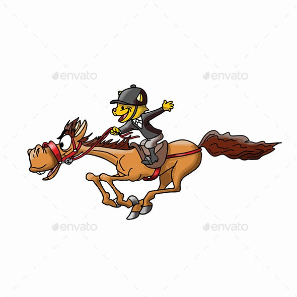 Cartoon Cat Riding a Brown Horse Vector Illustration - Sports/Activity Conceptual