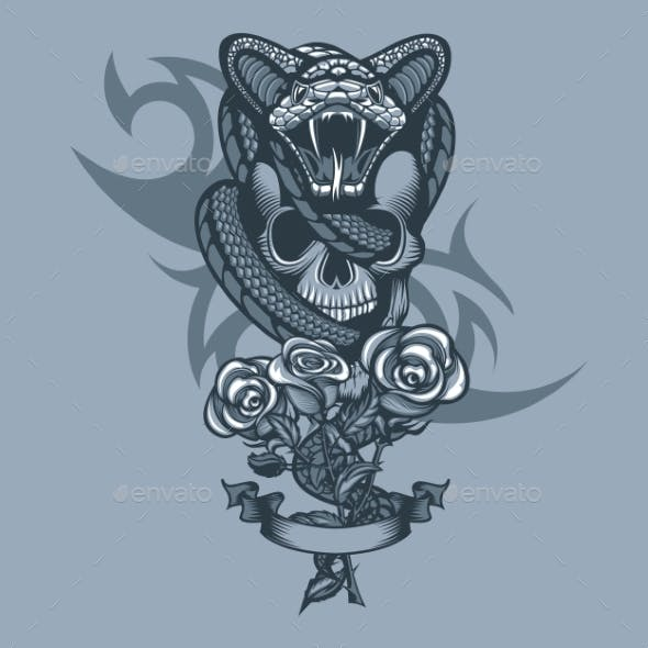Viper Wrapped Skull and Three Roses in Front