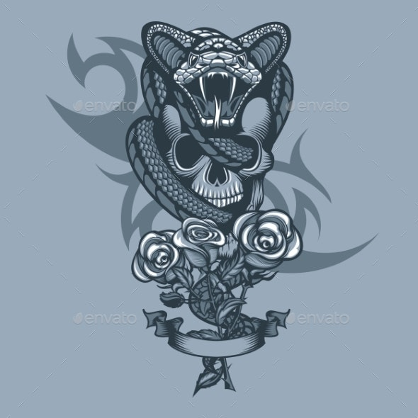 Viper Wrapped Skull and Three Roses in Front - Miscellaneous Vectors