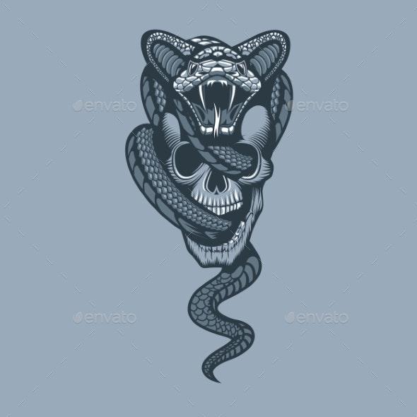 Snake Through Skull Monochrome Tattoo Style - Miscellaneous Vectors