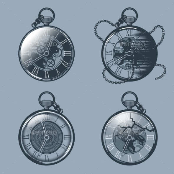 Set of Vintage Pocket Watches Monochrome Tattoo - Miscellaneous Vectors