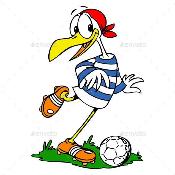 Cartoon Seagull Playing Football Vector Illustration - Sports/Activity Conceptual