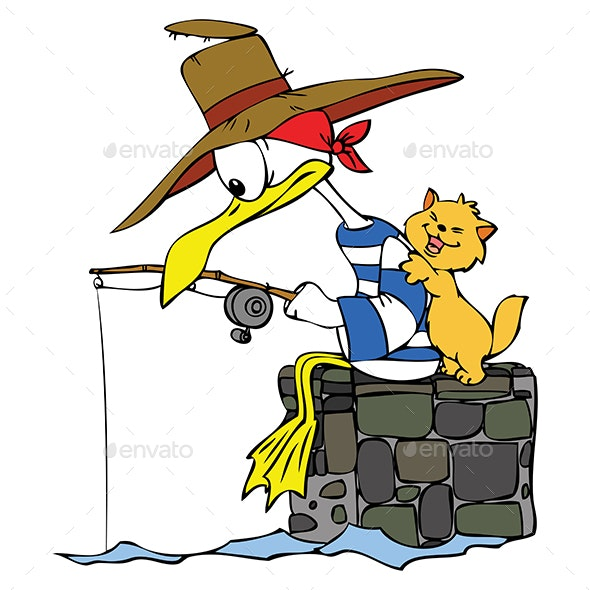 Cartoon Seagull Fishing for His Cat Friend Vector Illustration - Animals Characters