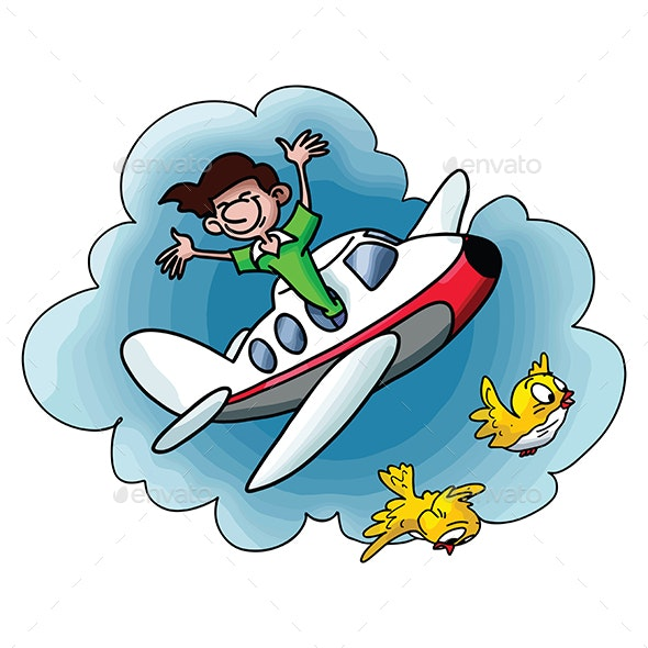 Cartoon Man Travelling by Plane Going to Vacation - Travel Conceptual
