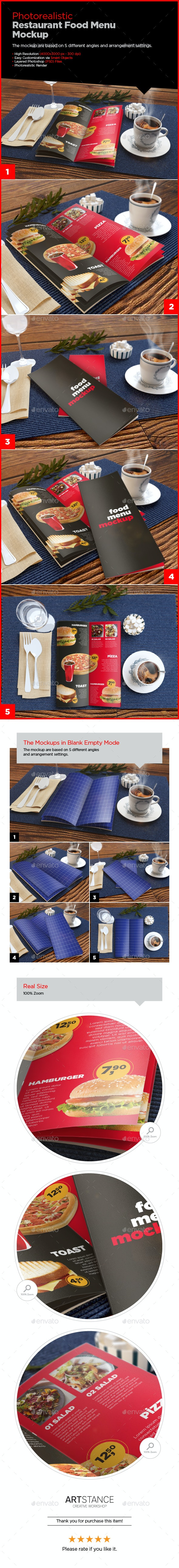 Photorealistic Food Menu Mockup - Print Product Mock-Ups