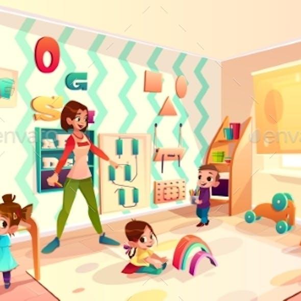 Kids in Montessori School Classroom Cartoon Vector