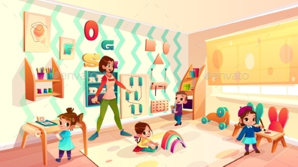 Kids in Montessori School Classroom Cartoon Vector - People Characters