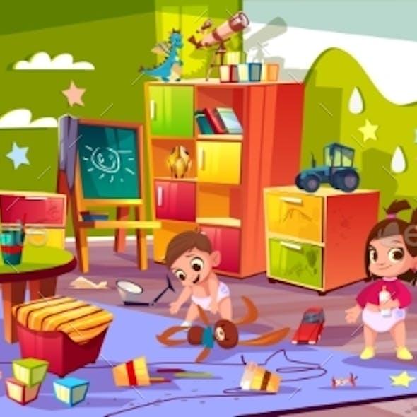 Babies Playing in Kindergarten Cartoon Vector
