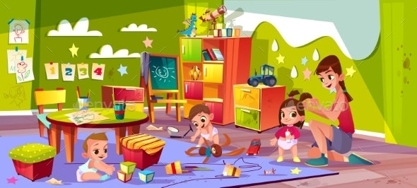 Babies Playing in Kindergarten Cartoon Vector - People Characters