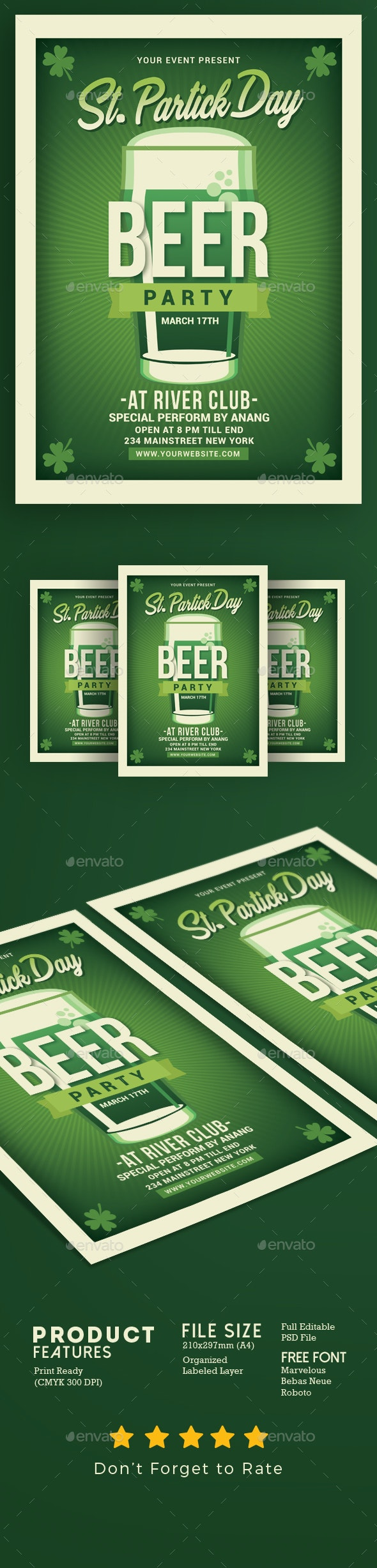 Saint Patrick Day Beer Party - Events Flyers