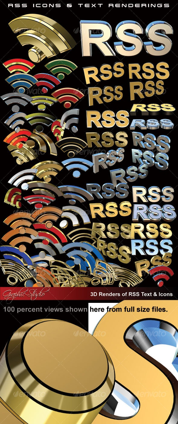 70+ 3D RSS Icons & Text Renderings - Technology Isolated Objects