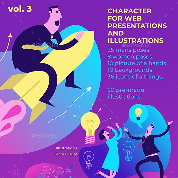 Flat Illustration of Presentation Characters