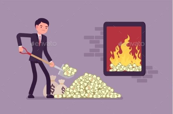 Businessman Adding Money Fuel - Concepts Business