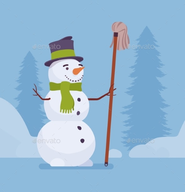 Snowman Figure with a Mop - Seasons Nature