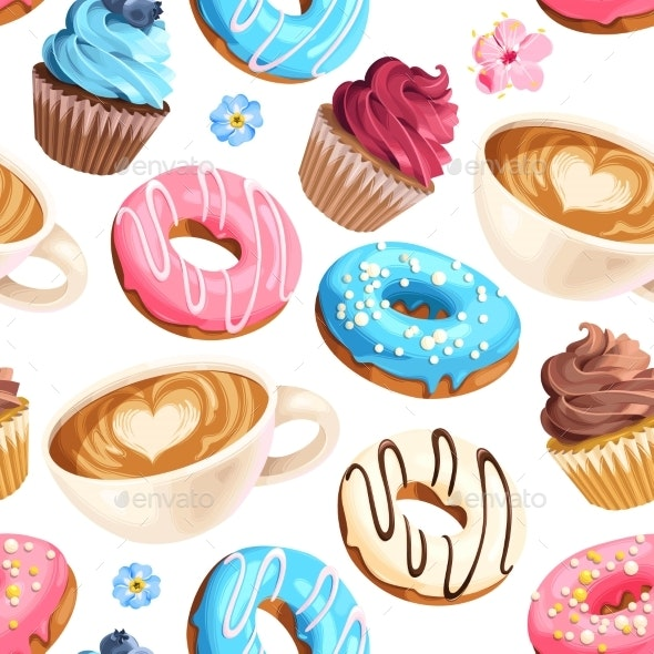 Vector Seamless Pattern with Coffee and Donuts - Food Objects