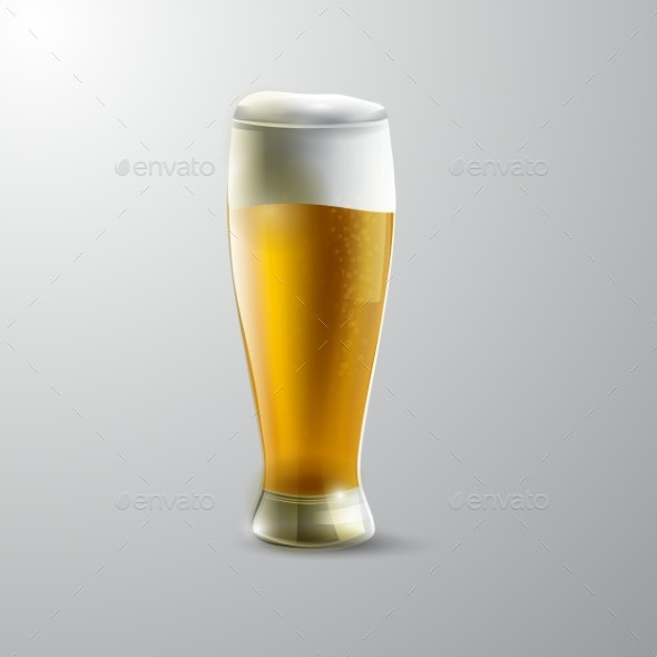 Glass of Beer Isolated - Food Objects