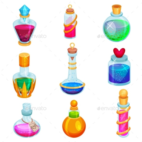 Flat Vector Set of Small Bottles with Potions - Man-made Objects Objects