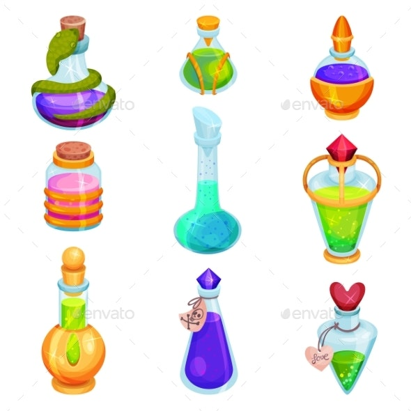 Flat Vector Set of Different Small Bottles - Man-made Objects Objects