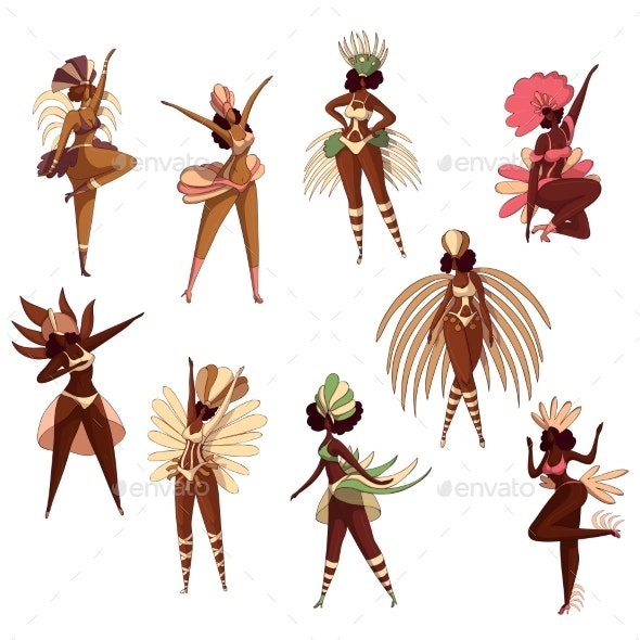 Vector Set of Brazilian Women in Dancing Action - People Characters