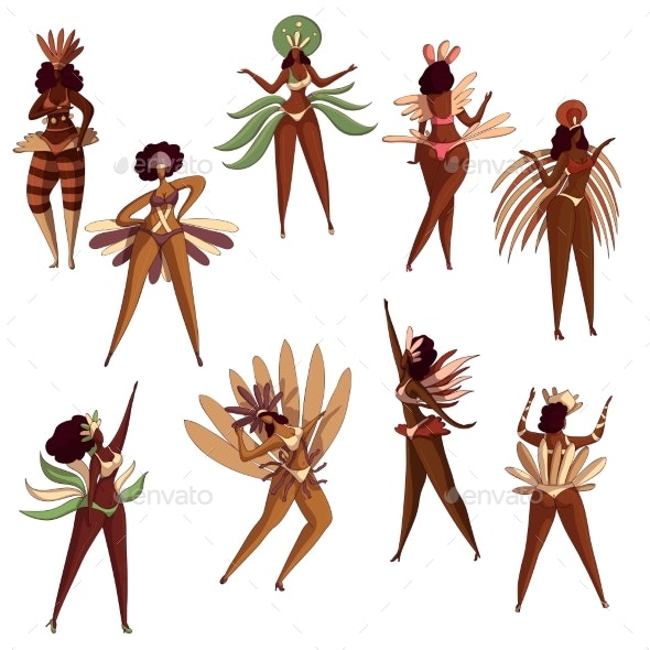 Vector Set of Brazilian Girls in Dancing Action - People Characters