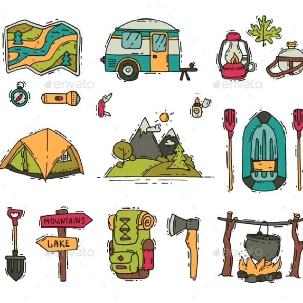 Vector Set of Camping and Hiking Objects in Doodle