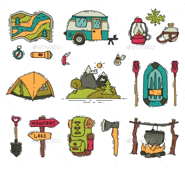 Vector Set of Camping and Hiking Objects in Doodle - Sports/Activity Conceptual