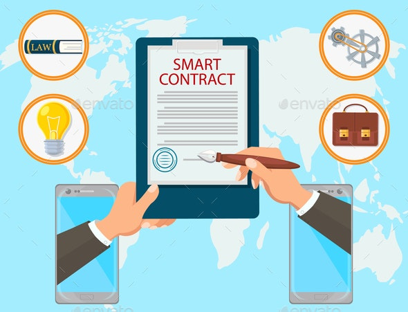 Smart Contract Vector Flat Law Firm Online Mobile - Concepts Business