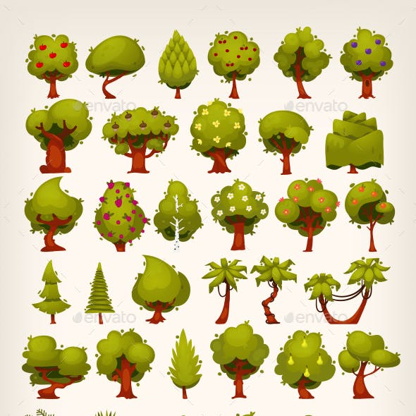 Collection of Trees for Creating Customized Background Scenes