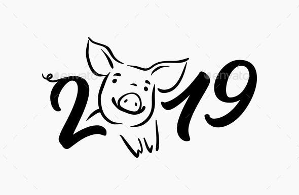 Pig Happy New Year Chinese Symbol